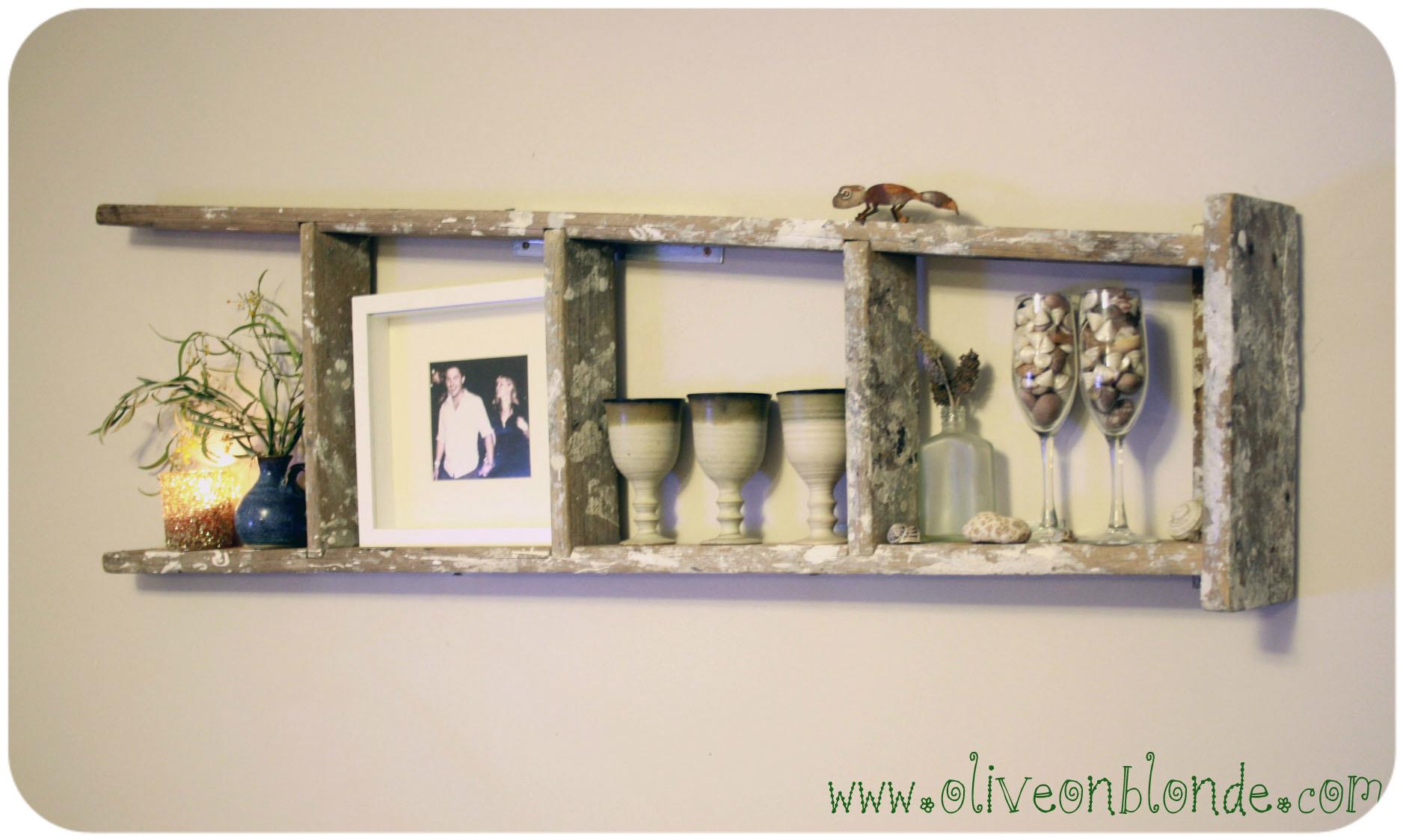 Recycled Ladder Shelf | Olive on Blonde