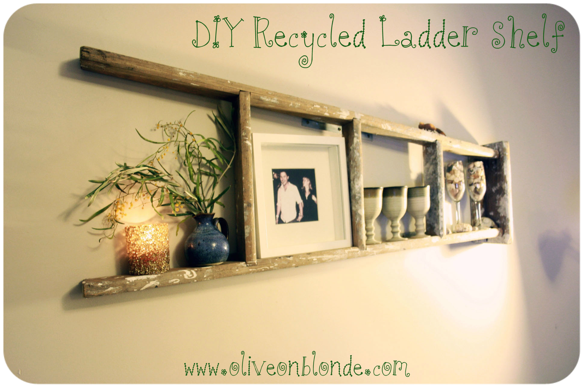 Old Wooden Ladder Shelf