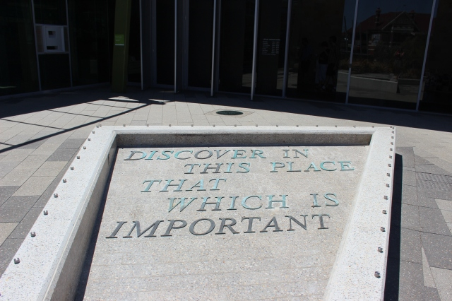 Beautifully apt quote to have in front of the library.