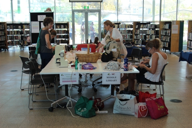 A mending station was set up, where people could mend and sew to their hearts content!